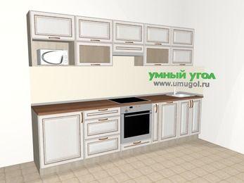 Прямая кухня МДФ патина 6,0 м², 3000 мм, Лиственница белая, верхние модули 720 мм, посудомоечная машина, модуль под свч, встроенный духовой шкаф