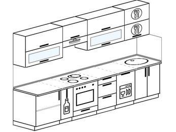 Планировка прямой кухни 6,0 м², 300 см: верхние модули 72 см, корзина-бутылочница, встроенный духовой шкаф, посудомоечная машина