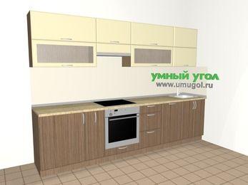 Прямая кухня МДФ матовый 6,0 м², 3000 мм, Ваниль / Лиственница бронзовая, верхние модули 720 мм, посудомоечная машина, встроенный духовой шкаф