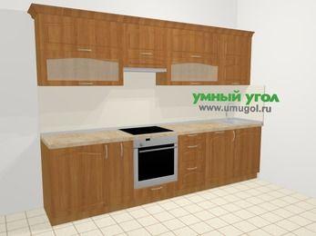 Прямая кухня МДФ матовый в классическом стиле 6,0 м², 300 см, Вишня, верхние модули 72 см, посудомоечная машина, встроенный духовой шкаф