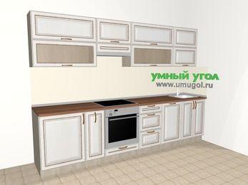 Прямая кухня МДФ патина 6,0 м², 3000 мм, Лиственница белая, верхние модули 720 мм, посудомоечная машина, встроенный духовой шкаф