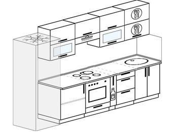 Планировка прямой кухни 6,0 м², 300 см: верхние модули 72 см, холодильник, встроенный духовой шкаф, корзина-бутылочница