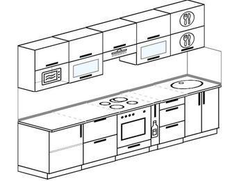 Планировка прямой кухни 6,0 м², 300 см: верхние модули 72 см, встроенный духовой шкаф, корзина-бутылочница, модуль под свч