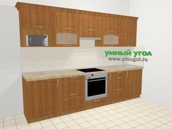 Прямая кухня МДФ матовый в классическом стиле 6,0 м², 300 см, Вишня: верхние модули 72 см, встроенный духовой шкаф, корзина-бутылочница, модуль под свч