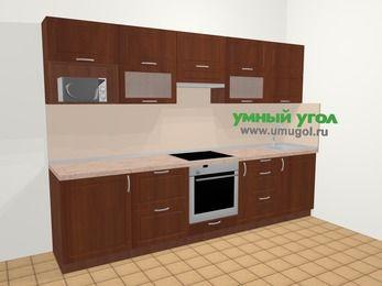 Прямая кухня МДФ матовый в классическом стиле 6,0 м², 300 см, Вишня темная: верхние модули 72 см, встроенный духовой шкаф, корзина-бутылочница, модуль под свч