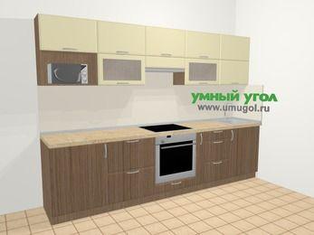 Прямая кухня МДФ матовый в современном стиле 6,0 м², 300 см, Ваниль / Лиственница бронзовая: верхние модули 72 см, встроенный духовой шкаф, корзина-бутылочница, модуль под свч