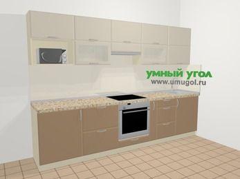 Прямая кухня МДФ матовый в современном стиле 6,0 м², 300 см, Керамик / Кофе: верхние модули 72 см, встроенный духовой шкаф, корзина-бутылочница, модуль под свч