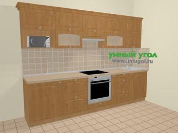 Прямая кухня МДФ матовый в стиле кантри 6,0 м², 300 см, Ольха: верхние модули 72 см, встроенный духовой шкаф, корзина-бутылочница, модуль под свч