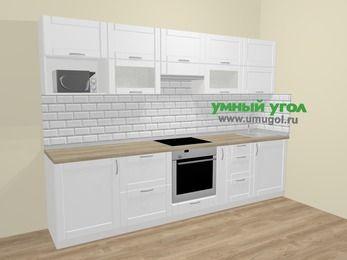Прямая кухня МДФ матовый  в скандинавском стиле 6,0 м², 300 см, Белый: верхние модули 72 см, встроенный духовой шкаф, корзина-бутылочница, модуль под свч