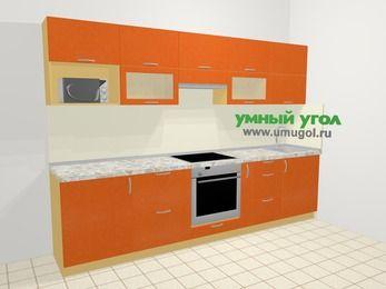 Прямая кухня МДФ металлик в современном стиле 6,0 м², 300 см, Оранжевый металлик: верхние модули 72 см, встроенный духовой шкаф, корзина-бутылочница, модуль под свч