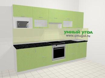 Прямая кухня МДФ металлик в современном стиле 6,0 м², 300 см, Салатовый металлик: верхние модули 72 см, встроенный духовой шкаф, корзина-бутылочница, модуль под свч