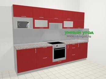 Прямая кухня МДФ глянец в современном стиле 6,0 м², 300 см, Красный: верхние модули 72 см, встроенный духовой шкаф, корзина-бутылочница, модуль под свч