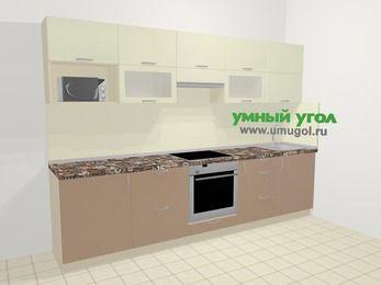 Прямая кухня МДФ глянец в современном стиле 6,0 м², 300 см, Жасмин / Капучино: верхние модули 72 см, встроенный духовой шкаф, корзина-бутылочница, модуль под свч