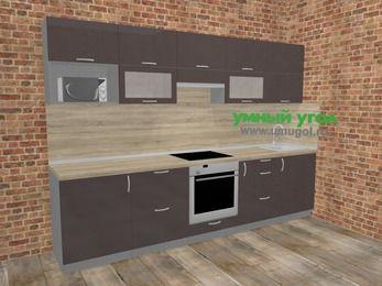 Прямая кухня МДФ глянец в стиле лофт 6,0 м², 300 см, Шоколад: верхние модули 72 см, встроенный духовой шкаф, корзина-бутылочница, модуль под свч