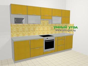 Кухни из пластика в современном стиле 6,0 м², 300 см, Желтый глянец: верхние модули 72 см, встроенный духовой шкаф, корзина-бутылочница, модуль под свч