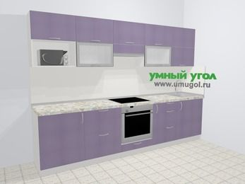 Кухни из пластика в современном стиле 6,0 м², 300 см, Сиреневый глянец: верхние модули 72 см, встроенный духовой шкаф, корзина-бутылочница, модуль под свч