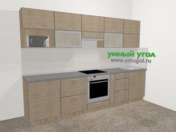 Кухни из пластика в стиле лофт 6,0 м², 300 см, Чибли бежевый: верхние модули 72 см, встроенный духовой шкаф, корзина-бутылочница, модуль под свч