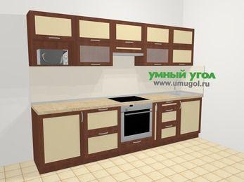 Прямая кухня из рамочного МДФ 6,0 м², 300 см, Вишня темная / Крем: верхние модули 72 см, встроенный духовой шкаф, корзина-бутылочница, модуль под свч