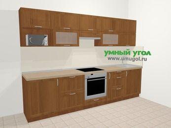 Прямая кухня из рамочного МДФ 6,0 м², 300 см, Орех: верхние модули 72 см, встроенный духовой шкаф, корзина-бутылочница, модуль под свч