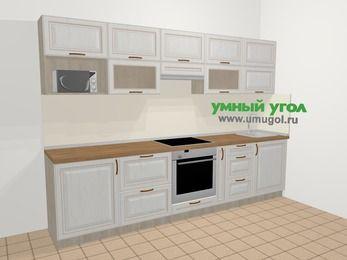 Прямая кухня МДФ патина в классическом стиле 6,0 м², 300 см, Лиственница белая: верхние модули 72 см, встроенный духовой шкаф, корзина-бутылочница, модуль под свч