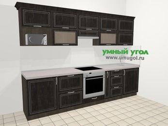 Прямая кухня МДФ патина в классическом стиле 6,0 м², 300 см, Венге: верхние модули 72 см, встроенный духовой шкаф, корзина-бутылочница, модуль под свч