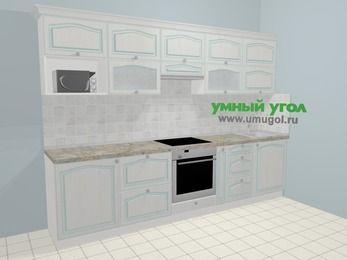 Прямая кухня МДФ патина в стиле прованс 6,0 м², 300 см, Лиственница белая: верхние модули 72 см, встроенный духовой шкаф, корзина-бутылочница, модуль под свч