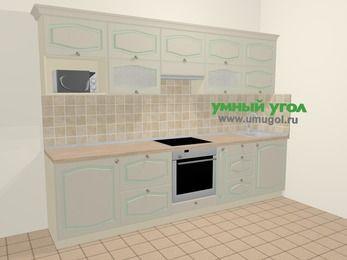 Прямая кухня МДФ патина в стиле прованс 6,0 м², 300 см, Керамик: верхние модули 72 см, встроенный духовой шкаф, корзина-бутылочница, модуль под свч