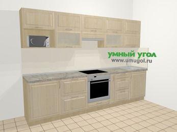Прямая кухня из массива дерева в классическом стиле 6,0 м², 300 см, Светло-коричневые оттенки: верхние модули 72 см, встроенный духовой шкаф, корзина-бутылочница, модуль под свч