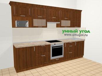 Прямая кухня из массива дерева в классическом стиле 6,0 м², 300 см, Темно-коричневые оттенки: верхние модули 72 см, встроенный духовой шкаф, корзина-бутылочница, модуль под свч