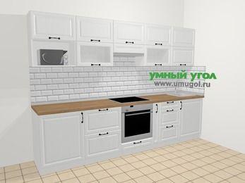 Прямая кухня из массива дерева в скандинавском стиле 6,0 м², 300 см, Белые оттенки: верхние модули 72 см, встроенный духовой шкаф, корзина-бутылочница, модуль под свч