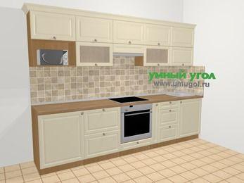 Прямая кухня из массива дерева в стиле кантри 6,0 м², 300 см, Бежевые оттенки: верхние модули 72 см, встроенный духовой шкаф, корзина-бутылочница, модуль под свч