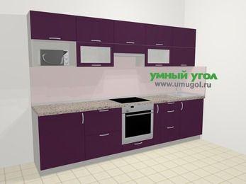 Прямая кухня МДФ глянец в современном стиле 6,0 м², 300 см, Баклажан: верхние модули 72 см, встроенный духовой шкаф, корзина-бутылочница, модуль под свч