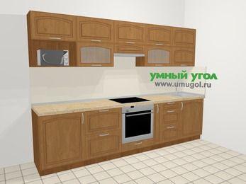 Прямая кухня МДФ патина в классическом стиле 6,0 м², 300 см, Ольха: верхние модули 72 см, встроенный духовой шкаф, корзина-бутылочница, модуль под свч