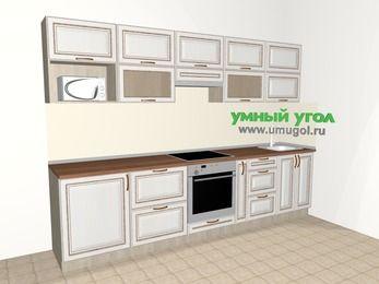 Прямая кухня МДФ патина 6,0 м², 3000 мм, Лиственница белая, верхние модули 720 мм, модуль под свч, встроенный духовой шкаф