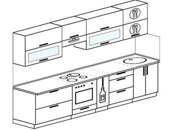 Прямая кухня 6,0 м² (3,0 м), верхние модули 72 см, встроенный духовой шкаф