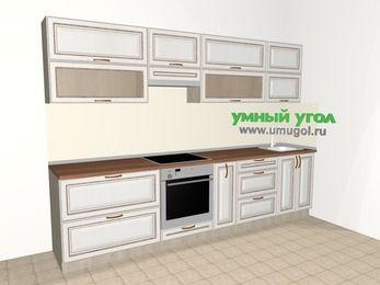 Прямая кухня МДФ патина 6,0 м², 3000 мм, Лиственница белая, верхние модули 720 мм, встроенный духовой шкаф