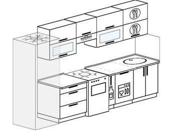 Планировка прямой кухни 6,0 м², 300 см: верхние модули 72 см, холодильник, отдельно стоящая плита, корзина-бутылочница, посудомоечная машина