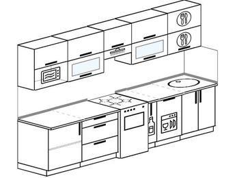 Прямая кухня 6,0 м² (3,0 м), верхние модули 72 см, посудомоечная машина, модуль под свч, отдельно стоящая плита