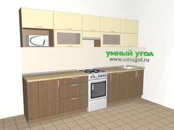 Прямая кухня МДФ матовый 6,0 м², 3000 мм, Ваниль / Лиственница бронзовая, верхние модули 720 мм, посудомоечная машина, модуль под свч, отдельно стоящая плита