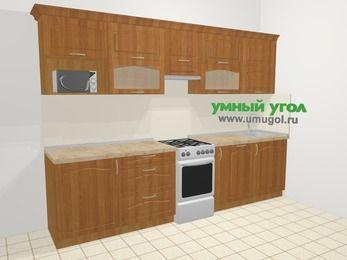 Прямая кухня МДФ матовый в классическом стиле 6,0 м², 300 см, Вишня, верхние модули 72 см, посудомоечная машина, модуль под свч, отдельно стоящая плита