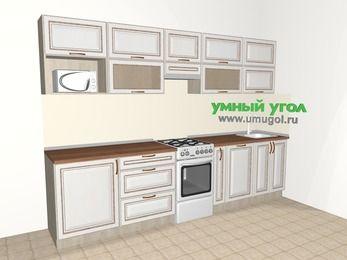 Прямая кухня МДФ патина 6,0 м², 3000 мм, Лиственница белая, верхние модули 720 мм, посудомоечная машина, модуль под свч, отдельно стоящая плита