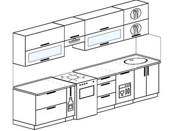 Планировка прямой кухни 6,0 м², 300 см: верхние модули 72 см, корзина-бутылочница, отдельно стоящая плита, посудомоечная машина