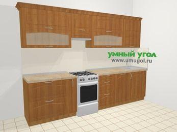 Прямая кухня МДФ матовый в классическом стиле 6,0 м², 300 см, Вишня, верхние модули 72 см, посудомоечная машина, отдельно стоящая плита