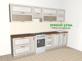 Прямая кухня МДФ патина 6,0 м², 3000 мм, Лиственница белая, верхние модули 720 мм, посудомоечная машина, отдельно стоящая плита