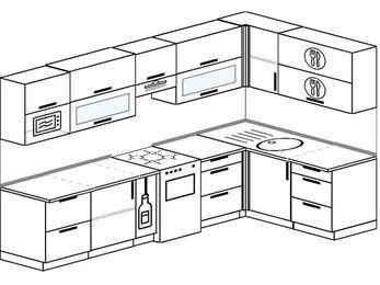 Угловая кухня 7,5 м² (3,0✕1,6 м), верхние модули 720 мм, модуль под свч, отдельно стоящая плита