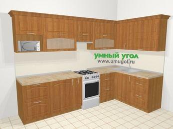 Угловая кухня МДФ матовый в классическом стиле 7,5 м², 300 на 160 см, Вишня, верхние модули 72 см, модуль под свч, отдельно стоящая плита