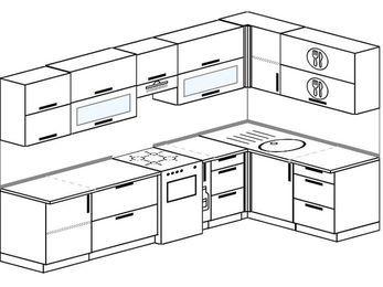 Угловая кухня 7,5 м² (3,0✕1,6 м), верхние модули 720 мм, отдельно стоящая плита