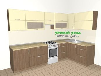 Угловая кухня МДФ матовый 7,5 м², 3000 на 1600 мм, Ваниль / Лиственница бронзовая, верхние модули 720 мм, отдельно стоящая плита