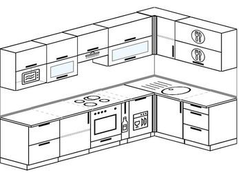 Угловая кухня 7,5 м² (3,0✕1,6 м), верхние модули 720 мм, посудомоечная машина, модуль под свч, встроенный духовой шкаф