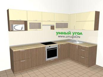 Угловая кухня МДФ матовый 7,5 м², 3000 на 1600 мм, Ваниль / Лиственница бронзовая, верхние модули 720 мм, посудомоечная машина, модуль под свч, встроенный духовой шкаф
